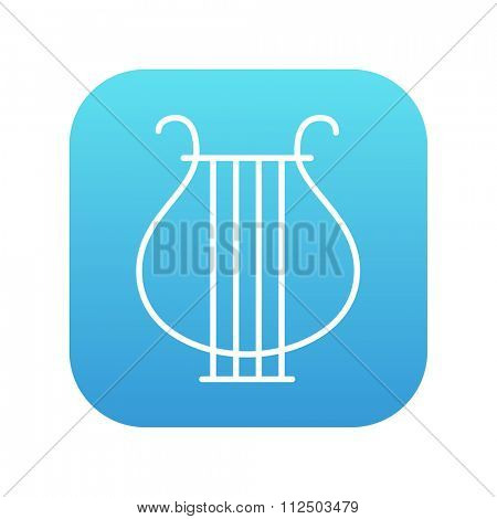 Lyre line icon for web, mobile and infographics. Vector white icon on the blue gradient square with rounded corners isolated on white background.