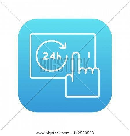 Finger touching 24 hours service button on a touchscreen line icon for web, mobile and infographics. Vector white icon on the blue gradient square with rounded corners isolated on white background.
