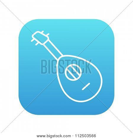 Mandolin line icon for web, mobile and infographics. Vector white icon on the blue gradient square with rounded corners isolated on white background.