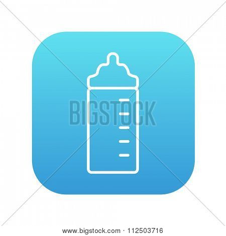 Feeding bottle line icon for web, mobile and infographics. Vector white icon on the blue gradient square with rounded corners isolated on white background.