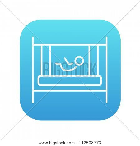 Baby laying in the crib line icon for web, mobile and infographics. Vector white icon on the blue gradient square with rounded corners isolated on white background.