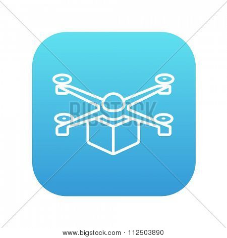 Drone delivering a package line icon for web, mobile and infographics. Vector white icon on the blue gradient square with rounded corners isolated on white background.