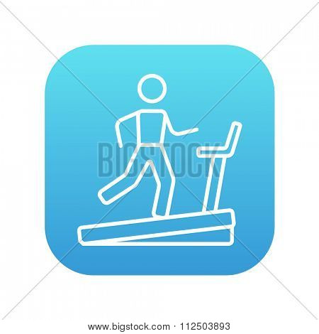 Man running on a treadmill line icon for web, mobile and infographics. Vector white icon on the blue gradient square with rounded corners isolated on white background.