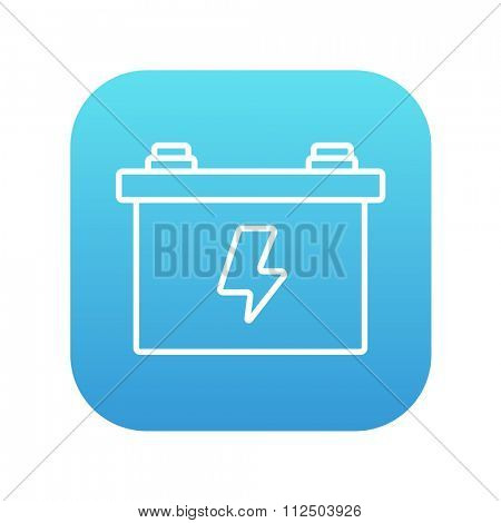 Car battery line icon for web, mobile and infographics. Vector white icon on the blue gradient square with rounded corners isolated on white background.