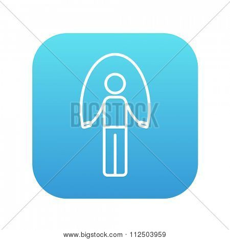 Man exercising with skipping rope line icon for web, mobile and infographics. Vector white icon on the blue gradient square with rounded corners isolated on white background.