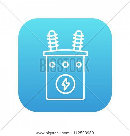 High voltage transformer line icon for web, mobile and infographics. Vector white icon on the blue gradient square with rounded corners isolated on white background.