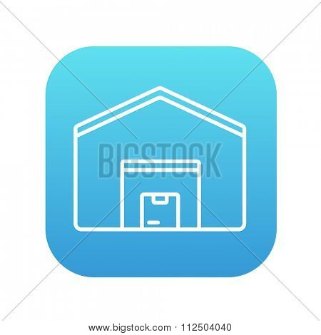Warehouse line icon for web, mobile and infographics. Vector white icon on the blue gradient square with rounded corners isolated on white background.