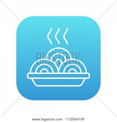 Hot meal in plate line icon for web, mobile and infographics. Vector white icon on the blue gradient square with rounded corners isolated on white background.