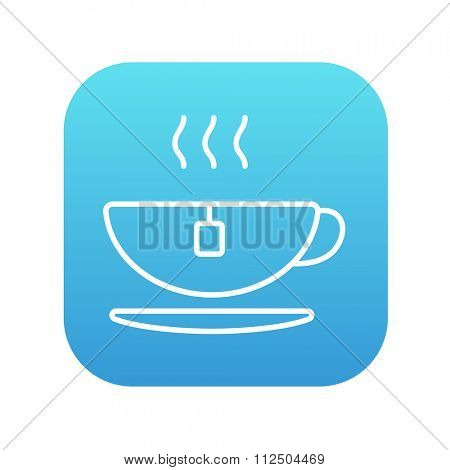 Hot tea in a cup line icon for web, mobile and infographics. Vector white icon on the blue gradient square with rounded corners isolated on white background.
