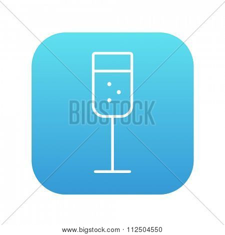 Glass of champagne line icon for web, mobile and infographics. Vector white icon on the blue gradient square with rounded corners isolated on white background.