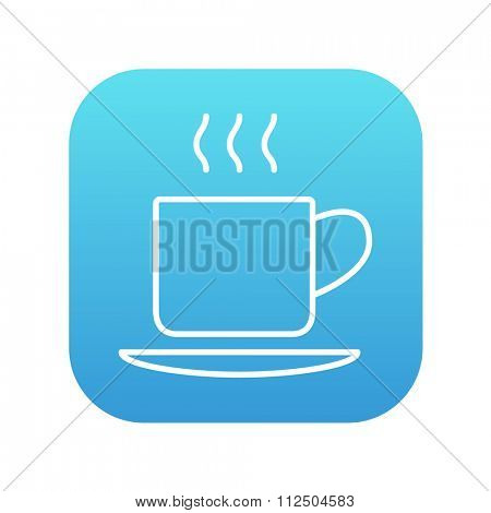 Cup of hot drink line icon for web, mobile and infographics. Vector white icon on the blue gradient square with rounded corners isolated on white background.
