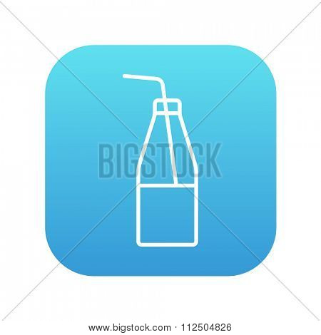 Glass bottle with drinking straw line icon for web, mobile and infographics. Vector white icon on the blue gradient square with rounded corners isolated on white background.