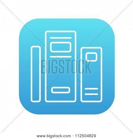 Books line icon for web, mobile and infographics. Vector white icon on the blue gradient square with rounded corners isolated on white background.