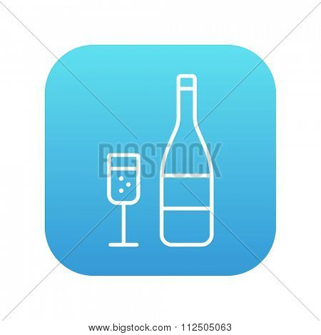 Bottle of champaign and glass line icon for web, mobile and infographics. Vector white icon on the blue gradient square with rounded corners isolated on white background.