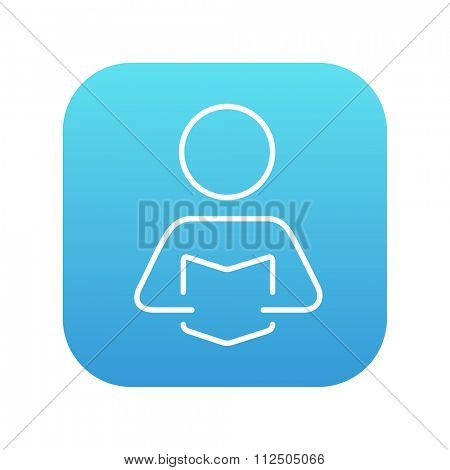 Man reading a book line icon for web, mobile and infographics. Vector white icon on the blue gradient square with rounded corners isolated on white background.