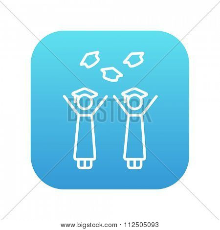 Graduates throwing caps line icon for web, mobile and infographics. Vector white icon on the blue gradient square with rounded corners isolated on white background.