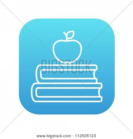 Books and apple on the top line icon for web, mobile and infographics. Vector white icon on the blue gradient square with rounded corners isolated on white background.