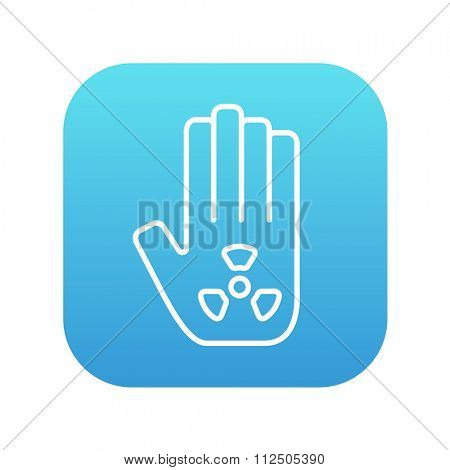 Ionizing radiation sign on a palm line icon for web, mobile and infographics. Vector white icon on the blue gradient square with rounded corners isolated on white background.