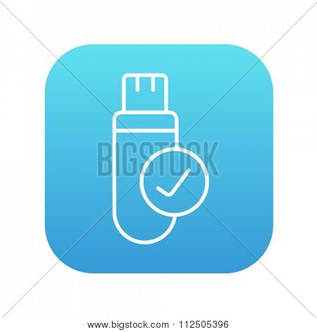 USB flash drive line icon for web, mobile and infographics. Vector white icon on the blue gradient square with rounded corners isolated on white background.