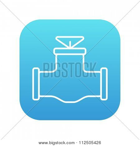 Gas pipe valve line icon for web, mobile and infographics. Vector white icon on the blue gradient square with rounded corners isolated on white background.