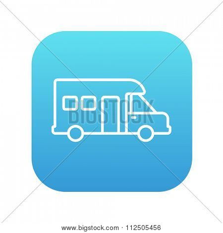 Motorhome line icon for web, mobile and infographics. Vector white icon on the blue gradient square with rounded corners isolated on white background.