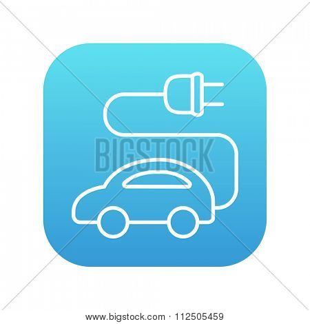 Electric car line icon for web, mobile and infographics. Vector white icon on the blue gradient square with rounded corners isolated on white background.