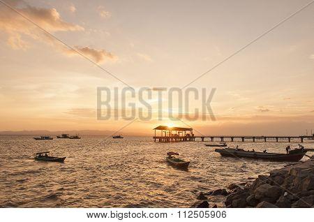 Sunset At Tawau Port, Sabah, Malaysia.