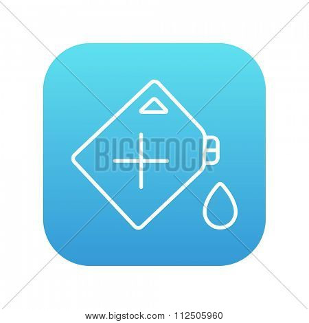 Gas container line icon for web, mobile and infographics. Vector white icon on the blue gradient square with rounded corners isolated on white background.