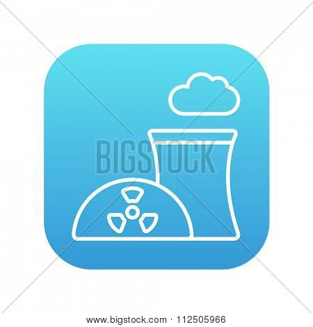 Nuclear power plant line icon for web, mobile and infographics. Vector white icon on the blue gradient square with rounded corners isolated on white background.
