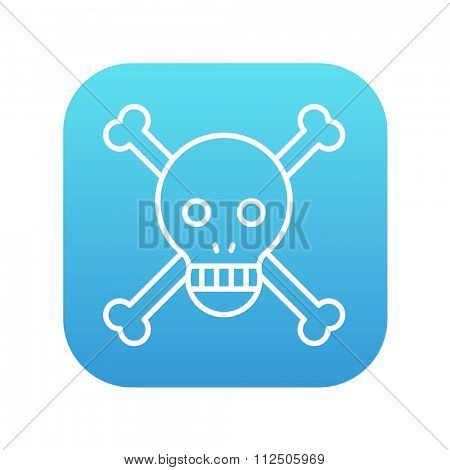 Skull and cross bones line icon for web, mobile and infographics. Vector white icon on the blue gradient square with rounded corners isolated on white background.