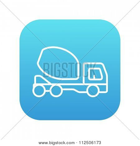 Concrete mixer truck line icon for web, mobile and infographics. Vector white icon on the blue gradient square with rounded corners isolated on white background.