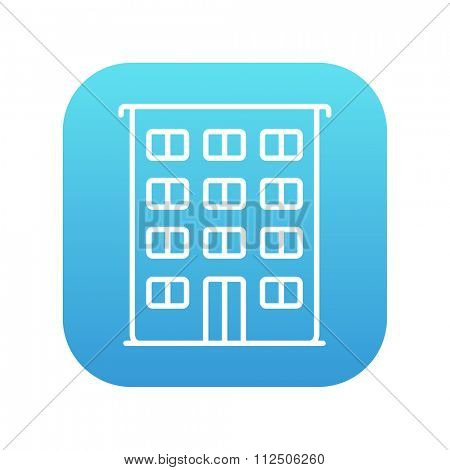 Residential building line icon for web, mobile and infographics. Vector white icon on the blue gradient square with rounded corners isolated on white background.