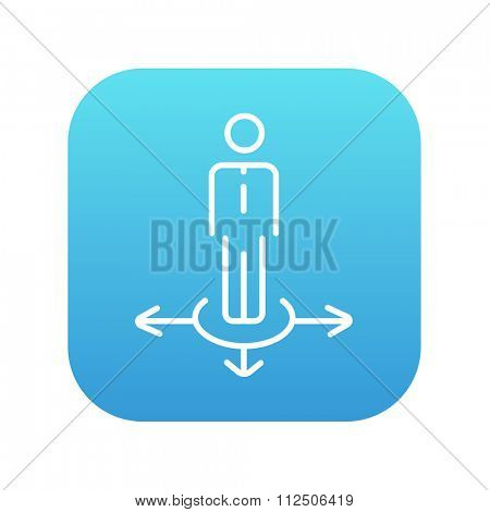 A businessman standing on three alternative ways line icon for web, mobile and infographics. Vector white icon on the blue gradient square with rounded corners isolated on white background.