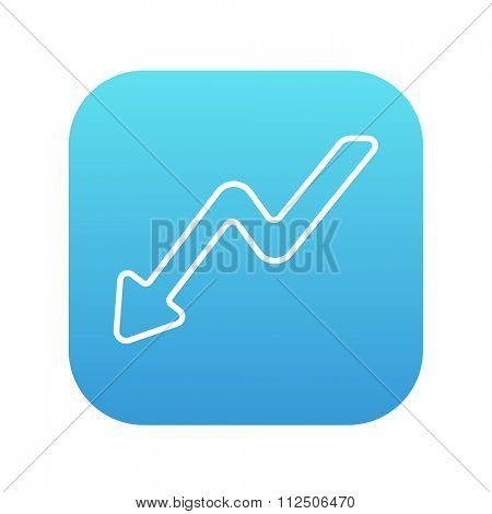 Arrow downward line icon for web, mobile and infographics. Vector white icon on the blue gradient square with rounded corners isolated on white background.