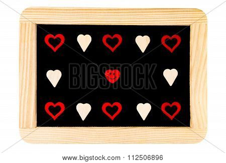 Wooden Frame Vintage Chalkboard Isolated On White With Red Heart Shape Symbols And Smiling Emoticon