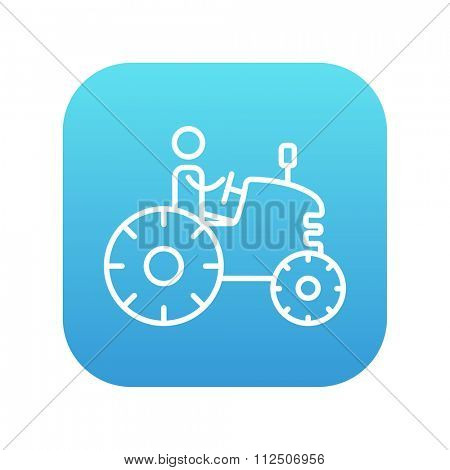 Man driving a tractor line icon for web, mobile and infographics. Vector white icon on the blue gradient square with rounded corners isolated on white background.