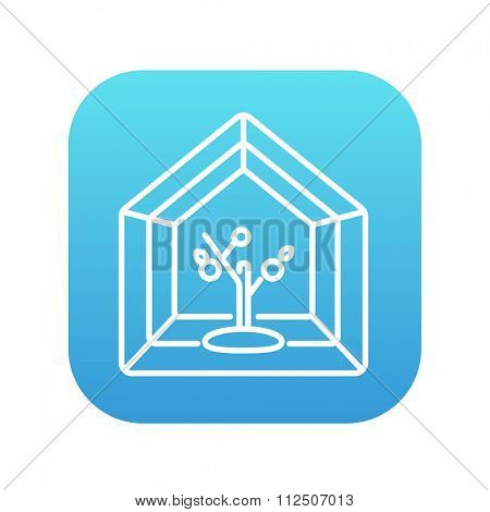 Greenhouse line icon for web, mobile and infographics. Vector white icon on the blue gradient square with rounded corners isolated on white background.