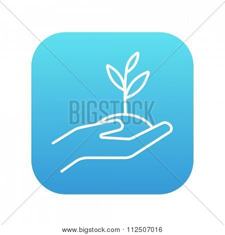 Hands holding seedling in soil line icon for web, mobile and infographics. Vector white icon on the blue gradient square with rounded corners isolated on white background.