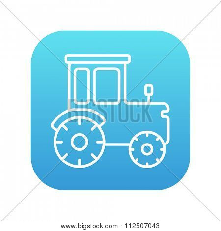 Tractor line icon for web, mobile and infographics. Vector white icon on the blue gradient square with rounded corners isolated on white background.