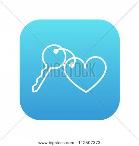 Trinket for the keys as a heart line icon for web, mobile and infographics. Vector white icon on the blue gradient square with rounded corners isolated on white background.