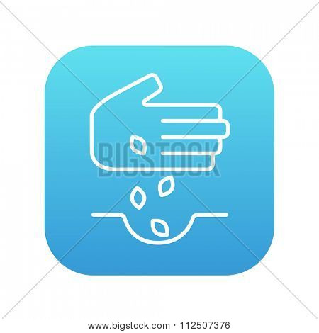 Hand planting seeds in the ground line icon for web, mobile and infographics. Vector white icon on the blue gradient square with rounded corners isolated on white background.