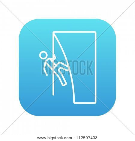 Rock climber climbing an overhanging cliff line icon for web, mobile and infographics. Vector white icon on the blue gradient square with rounded corners isolated on white background.