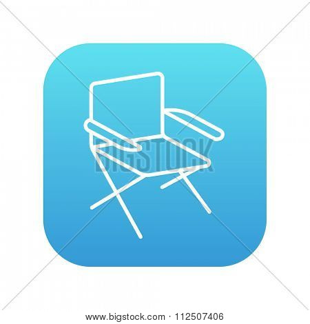 Folding chair line icon for web, mobile and infographics. Vector white icon on the blue gradient square with rounded corners isolated on white background.