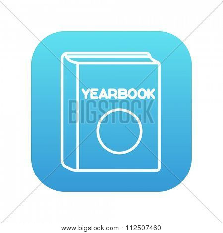 Yearbook line icon for web, mobile and infographics. Vector white icon on the blue gradient square with rounded corners isolated on white background.
