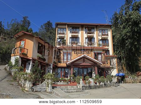 Front view of a beautiful little hotel on a hill in Sapa tourism town, Vietnam