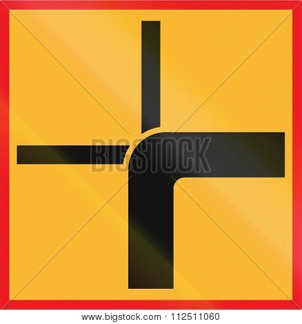 Road Sign Used In Sweden - Direction Of Priority Road At Intersect