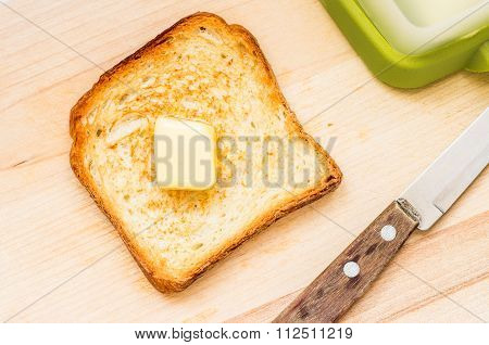 Fried Slice Of Toast With Butter