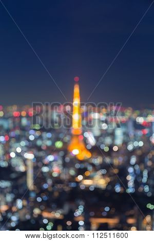 Abstract blurred bokeh light, Tokyo tower aerial view twilight