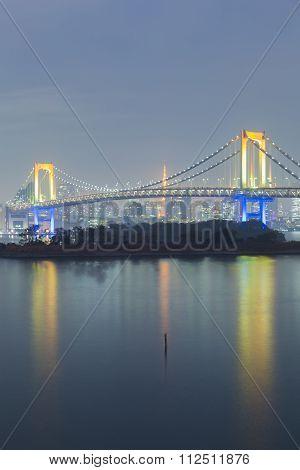 Rainbow bridge  at night, Odiaba Japan
