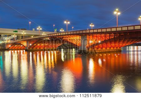 Twilight, Bridge cross over river in Tokyo city downtown